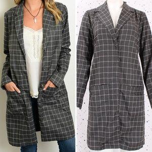 Jackets & Blazers - Plaid Long Blazer Jacket Button Closure